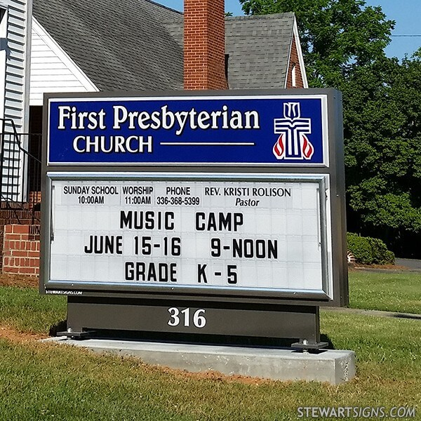 Church Sign for First Presbyterian Church