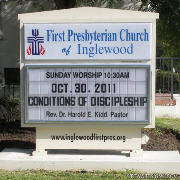 Church Sign for First Presbyterian Church Of Inglewood