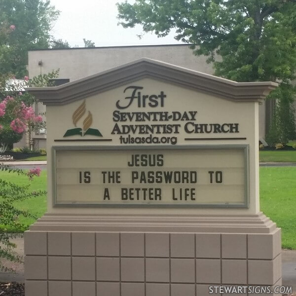 Church Sign for First Seventh-day Adventist Church Of Tulsa