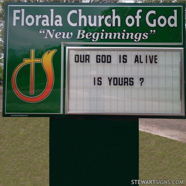 Church Sign for Florala Church Of God