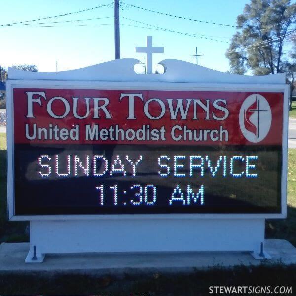 Church Sign for Four Towns United Methodist Church