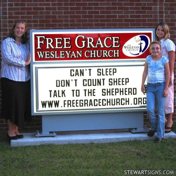 Church Sign for Free Grace Wesleyan Church