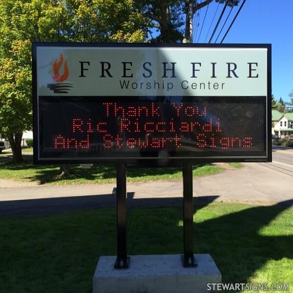 Church Sign for Fresh Fire Worship Center