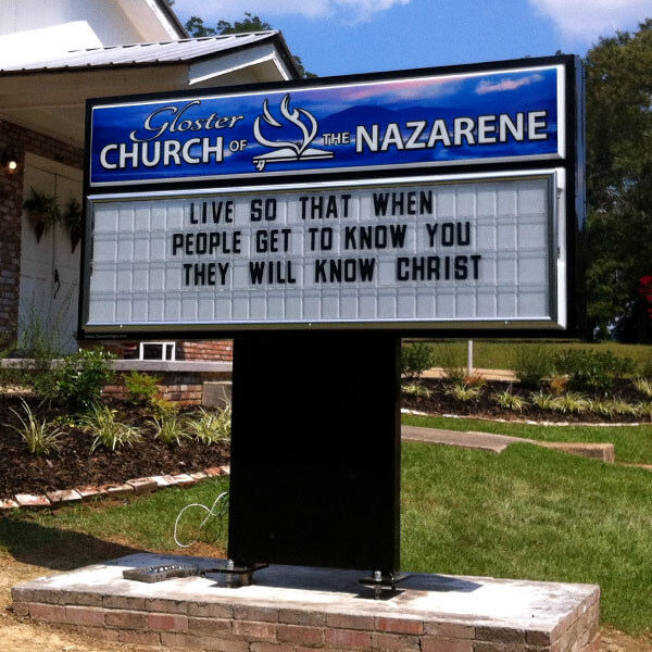 Church Sign for Gloster Church Of The Nazarene