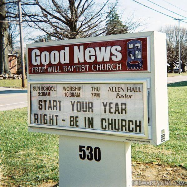 Church Sign for Good News Free Will Baptist Church