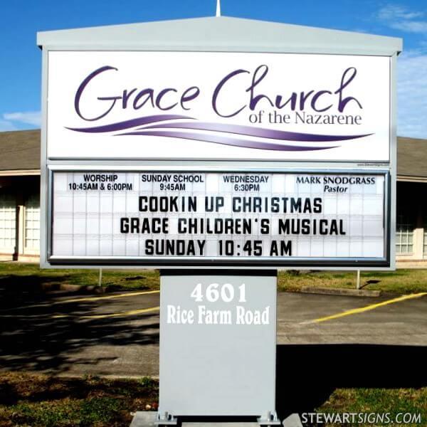 Church Sign for Grace Church Of The Nazarene