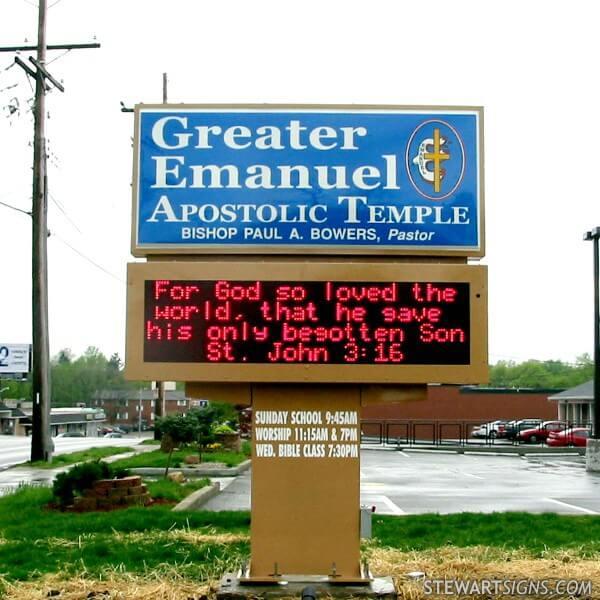 Church Sign for Greater Emanuel Apostolic Temple - Cincinnati, OH