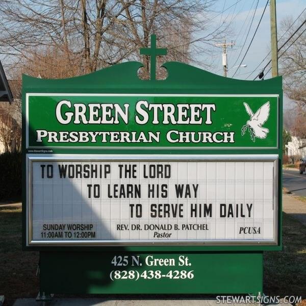 Church Sign for Green Street Presbyterian Church