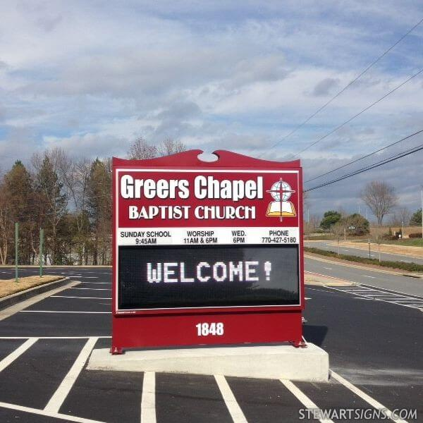 Church Sign for Greers Chapel Baptist Church