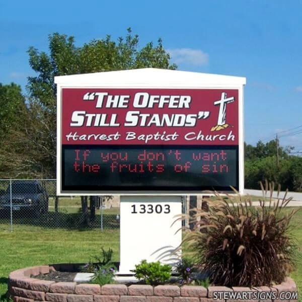Church Sign for Harvest Baptist Church