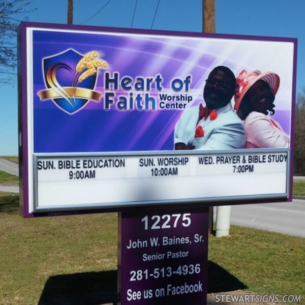 Church Sign for Heart Of Faith Worship