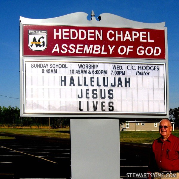 Church Sign for Hedden Chapel Assembly Of God