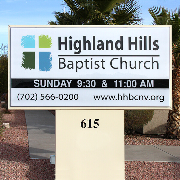 Church Sign for Highland Hills Baptist Church