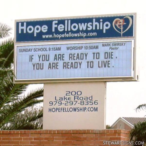 Church Sign for Hope Fellowship Church