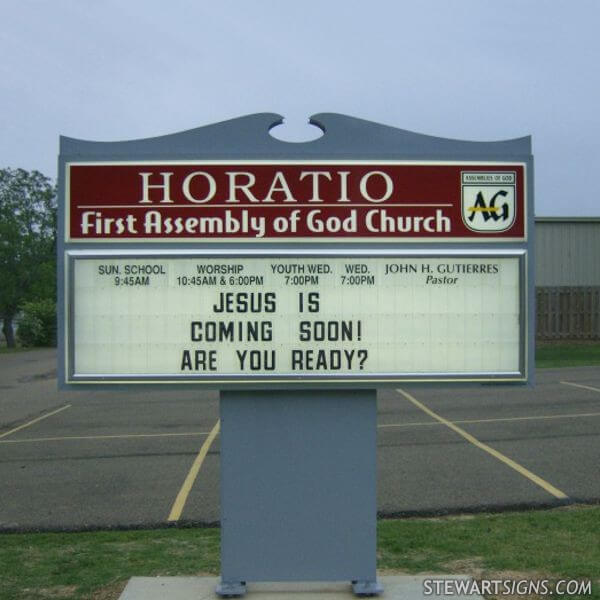 Church Sign for Horatio First Assembly Of God Church