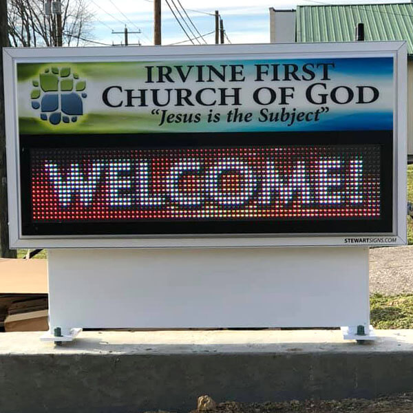 Church Sign for Irvine First Church Of God