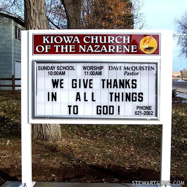 Church Sign for Kiowa Church Of The Nazarene