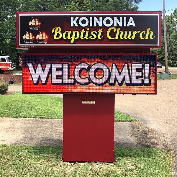 Church Sign for Koinonia Baptist Church
