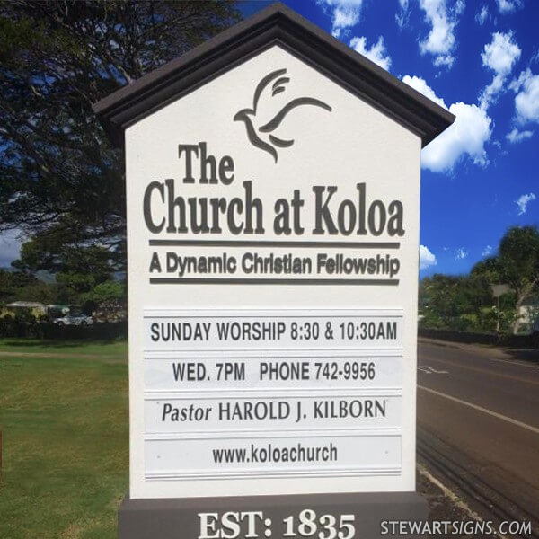 Church Sign for Koloa Assembly Of God Church