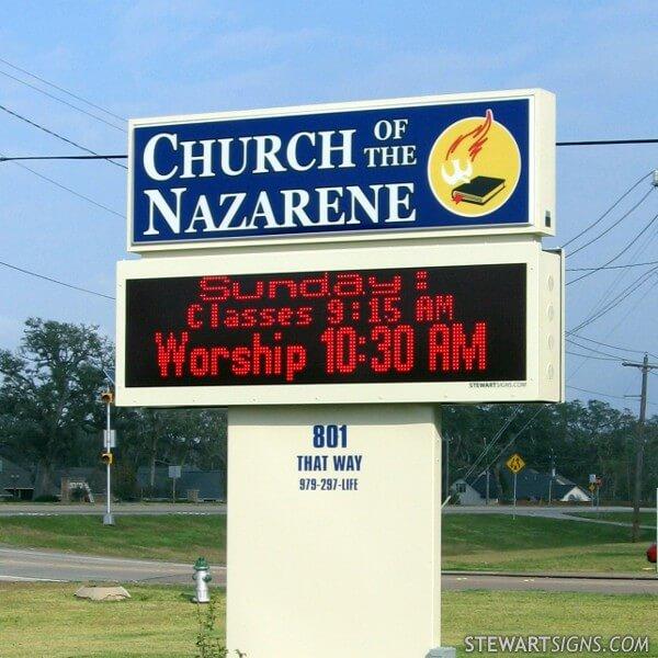 Church Sign for Lake Jackson Church Of The Nazarene