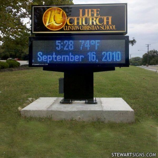 School Sign for Life Church & Clinton Christian School