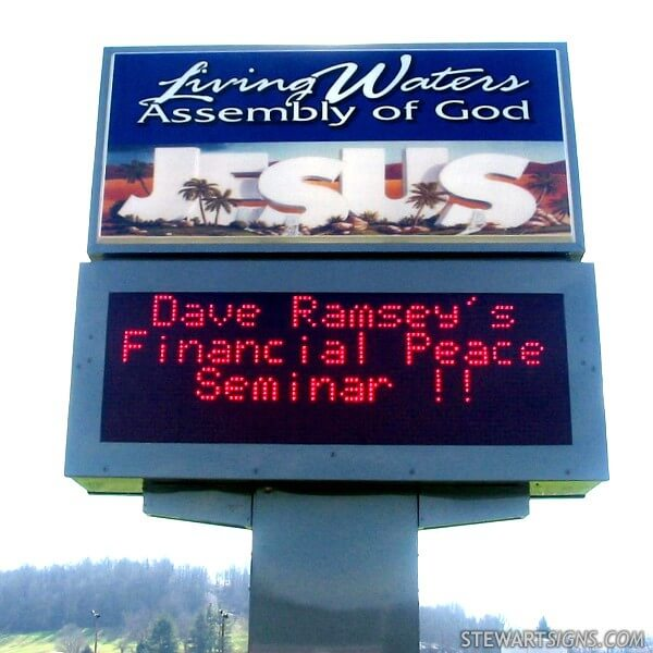 Church Sign for Living Waters Assembly Of God