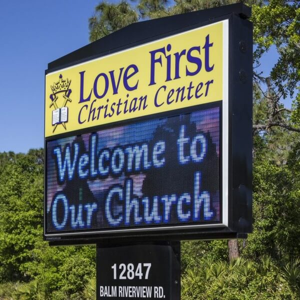 Church Sign for Love First Christian Center