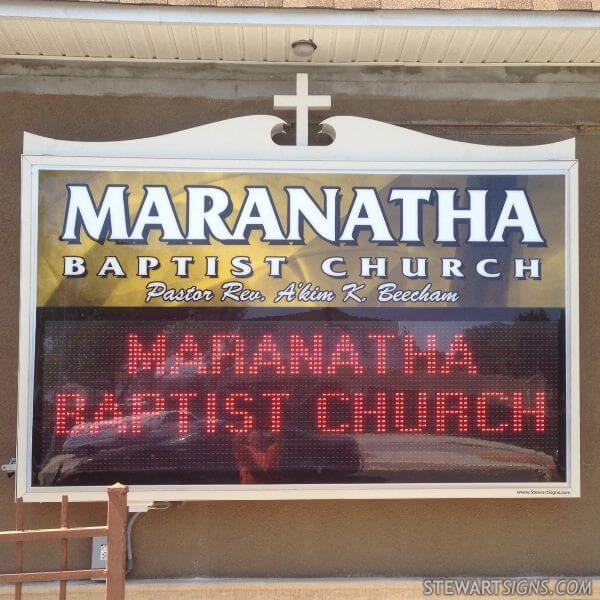 Church Sign for Maranatha Baptist Church