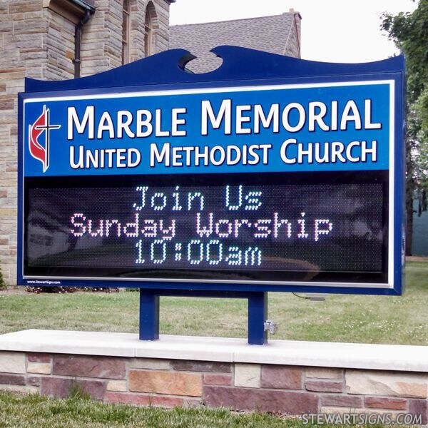 Church Sign for Marble Memorial United Methodist Church