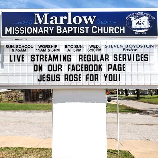 Church Sign for Marlow Missionary Baptist Church