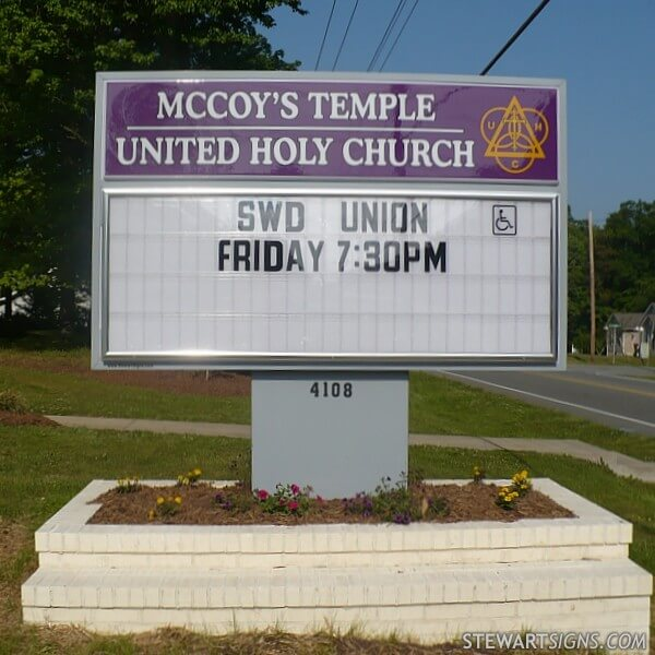 Church Sign for Mccoy's Temple United Holy Church