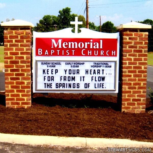 Church Sign for Memorial Baptist Church