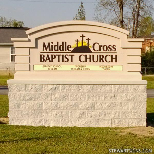 Church Sign for Middle Cross Baptist Church