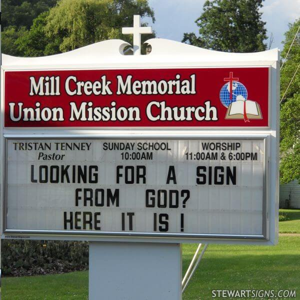 Church Sign for Mill Creek Memorial Union Mission Church