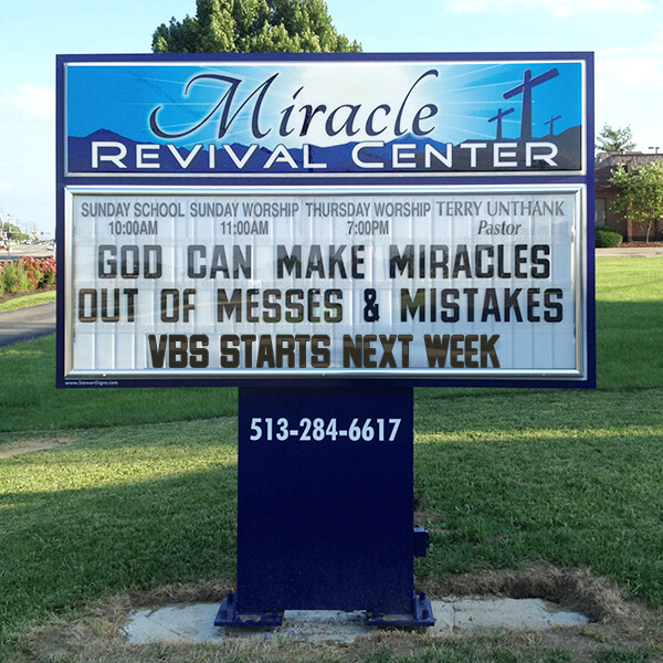 Church Sign for Miracle Revival Center