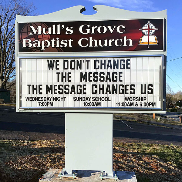 Church Sign for Mull's Grove Baptist Church