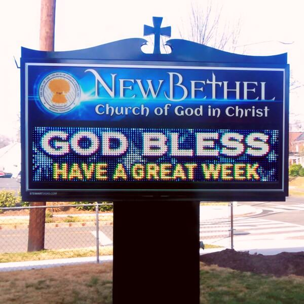 Church Sign for New Bethel Church Of God In Christ