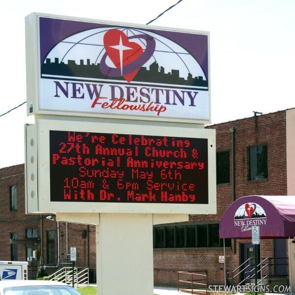 Church Sign for New Destiny Fellowship Inc