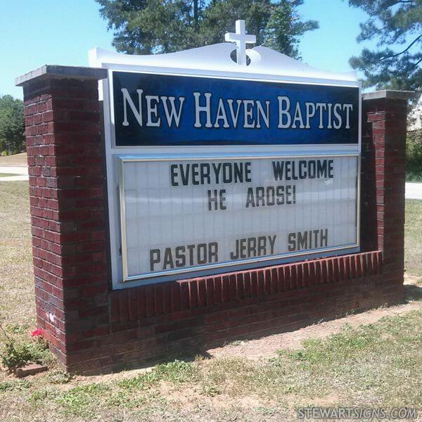 Church Sign for New Haven Baptist Church