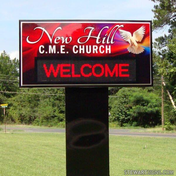 Church Sign for New Hill Cme Church