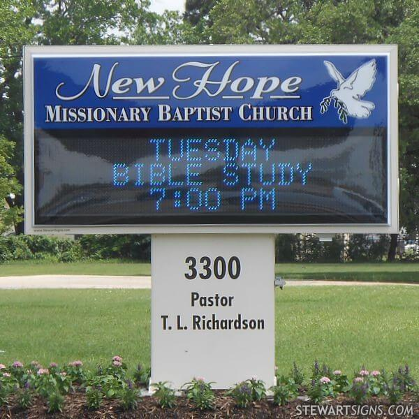 Church Sign for New Hope Missionary Baptist Church