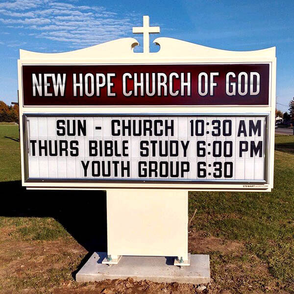 Church Sign for New Hope Church Of God
