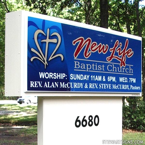 Church Sign for New Life Baptist Church