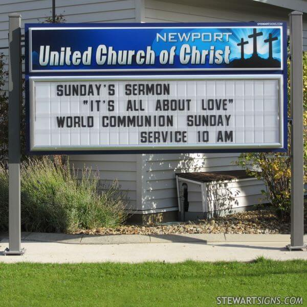 Church Sign for Newport United Church Of Christ