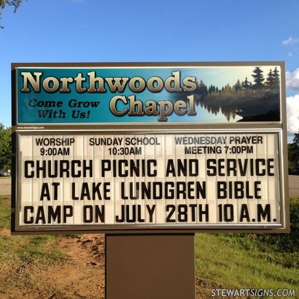 Church Sign for Northwoods Chapel