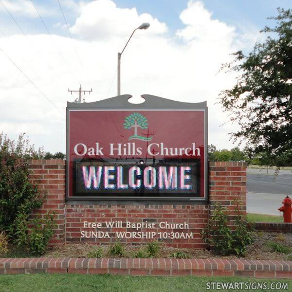 Church Sign for Oak Hills Church