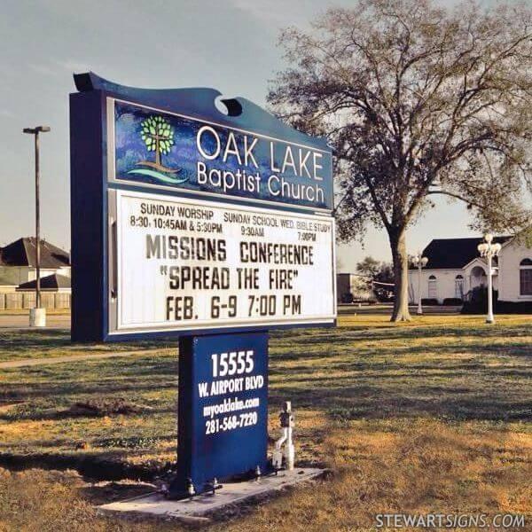 Church Sign for Oak Lake Baptist Church