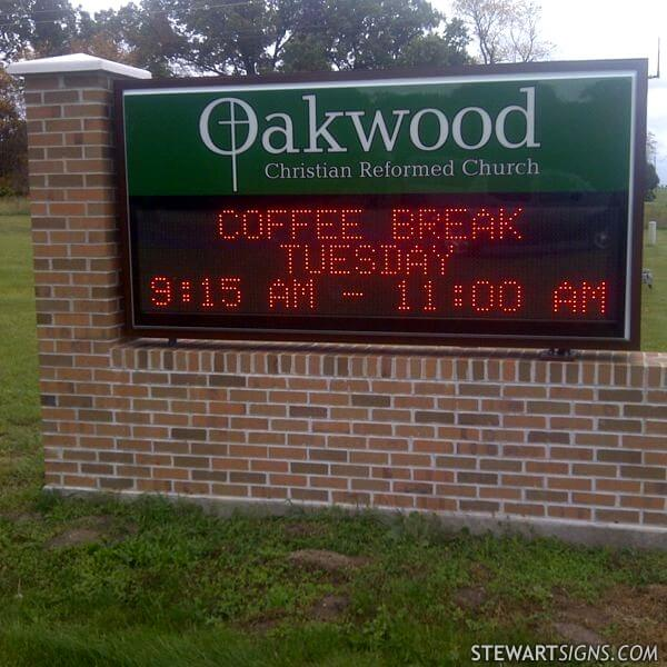 Church Sign for Oakwood Christian Reformed Church