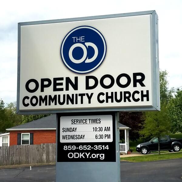 Church Sign for Open Door Comunty Church Of God