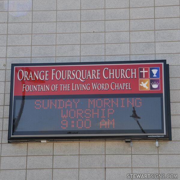 Church Sign for Orange Foursquare Church